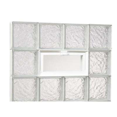 31 in. x 23.25 in. x 3.125 in. Ice Pattern Glass Block Masonry Window with Vent