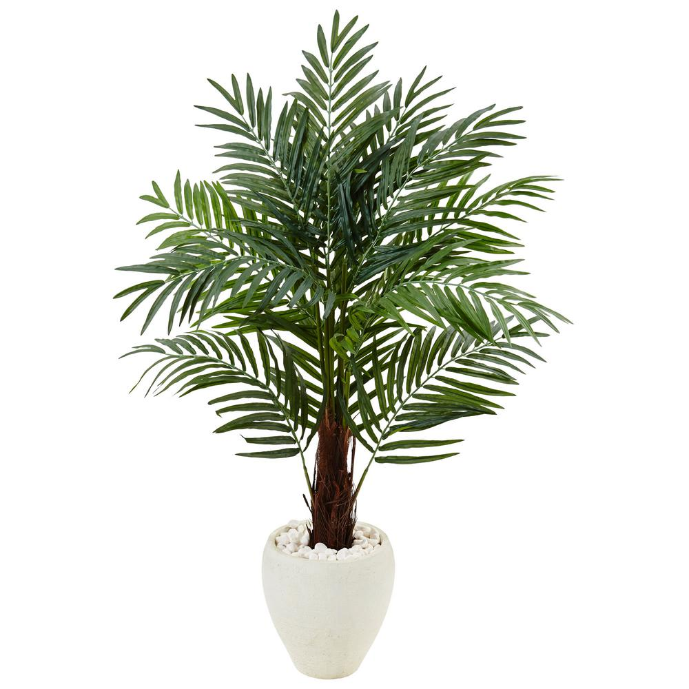 Nearly Natural Indoor Areca Palm Artificial Tree in White...