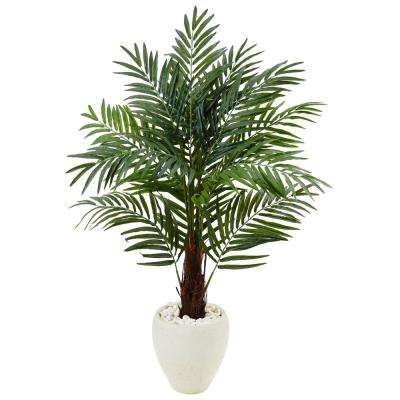 Indoor Areca Palm Artificial Tree in White Oval Planter