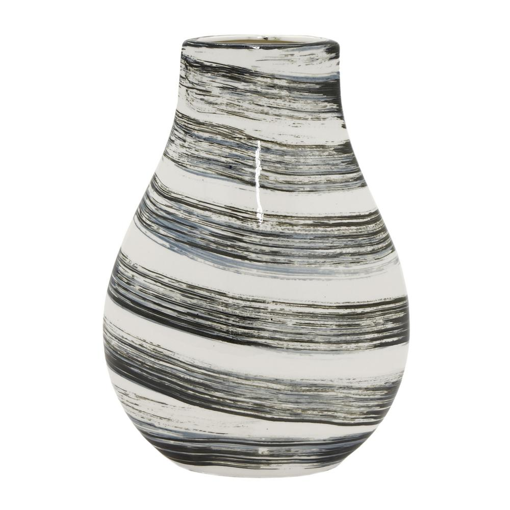 Decorative Black and White Ceramic Vase with Glossy