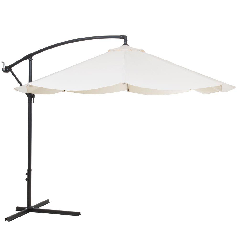 Offset Aluminum Hanging Patio Umbrella In Tan