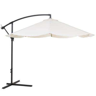 10 ft. Offset Aluminum Hanging Patio Umbrella in Tan