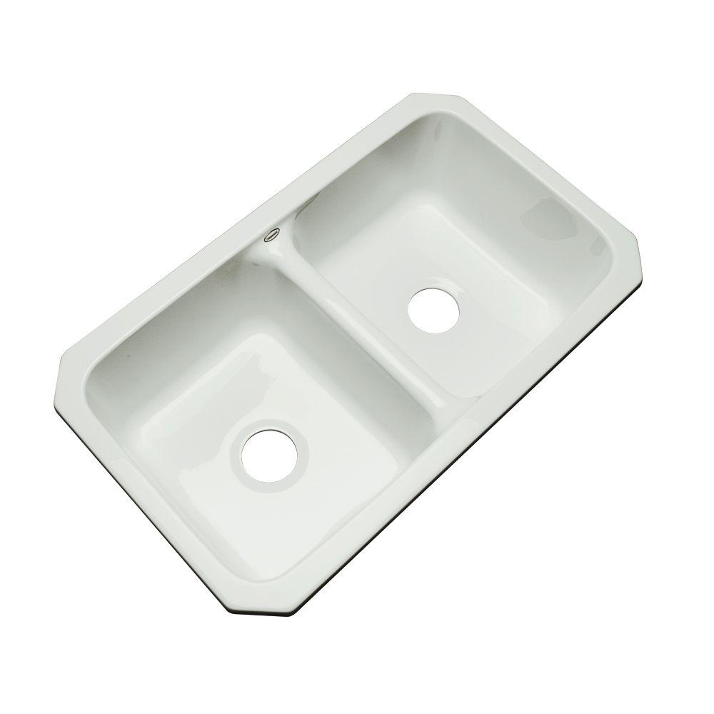 Newport Undermount Acrylic 33 in. Double Bowl Kitchen Sink in Ice
