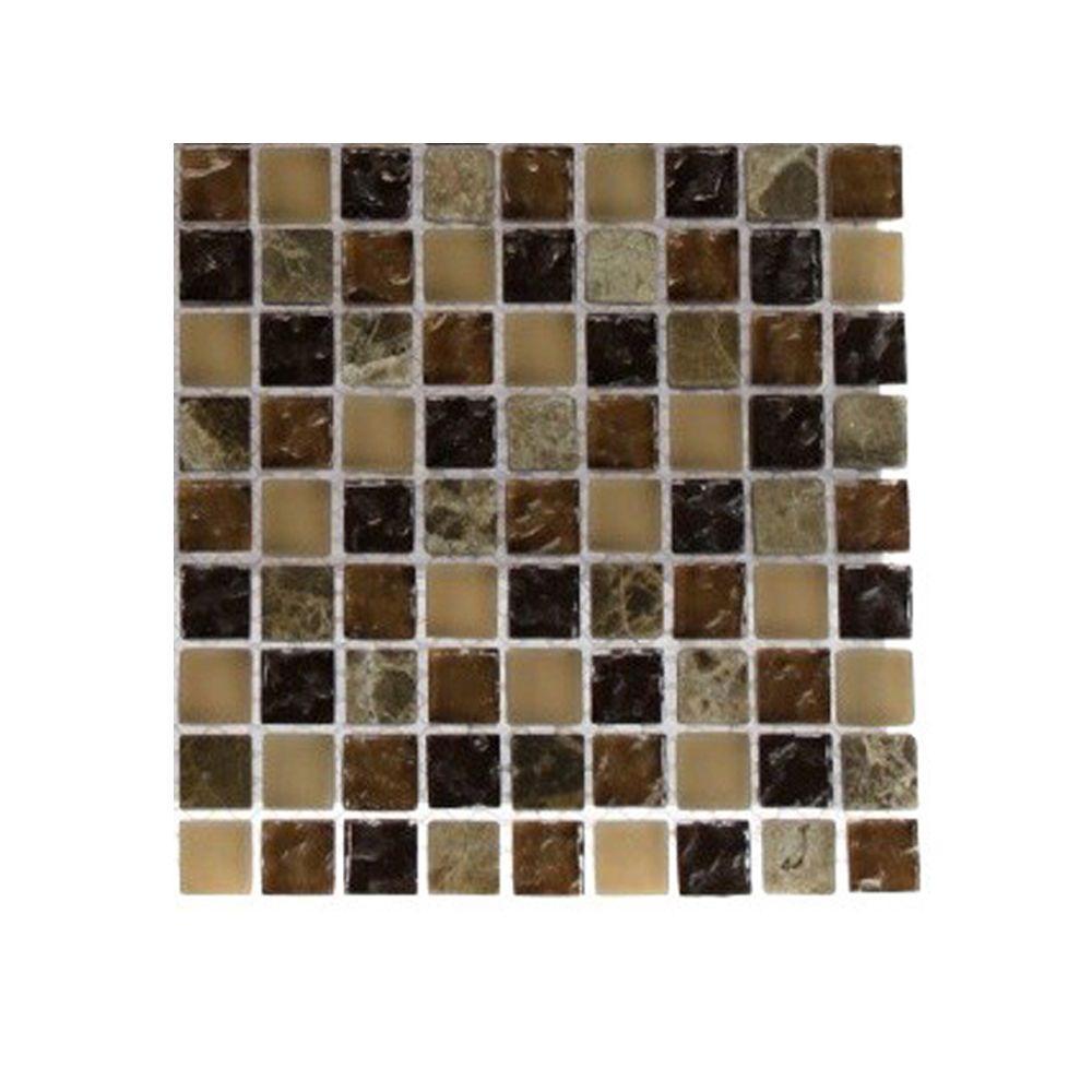 Splashback Tile Cask Brown Blend Marble Glass Mosaic Floor and Wall Tile - 3 in. x 6 in. x 8 mm Tile Sample