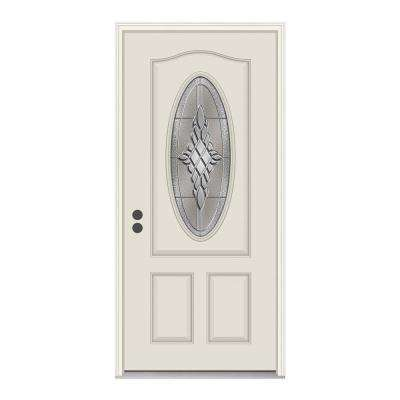 36 in. x 80 in. 3/4 Oval Lite Hadley Primed Fiberglass Prehung Right-Hand Inswing Front Door w/Brickmould