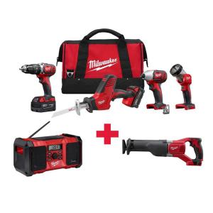 Milwaukee M18 18-Volt Lithium-Ion Cordless Combo Kit (4-Tool) with Free M18 Radio and M18 Sawzall by Milwaukee
