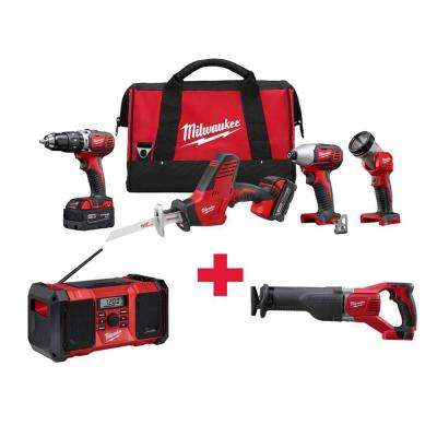 M18 18-Volt Lithium-Ion Cordless Combo Kit (4-Tool) with Free M18 Radio and M18 Sawzall
