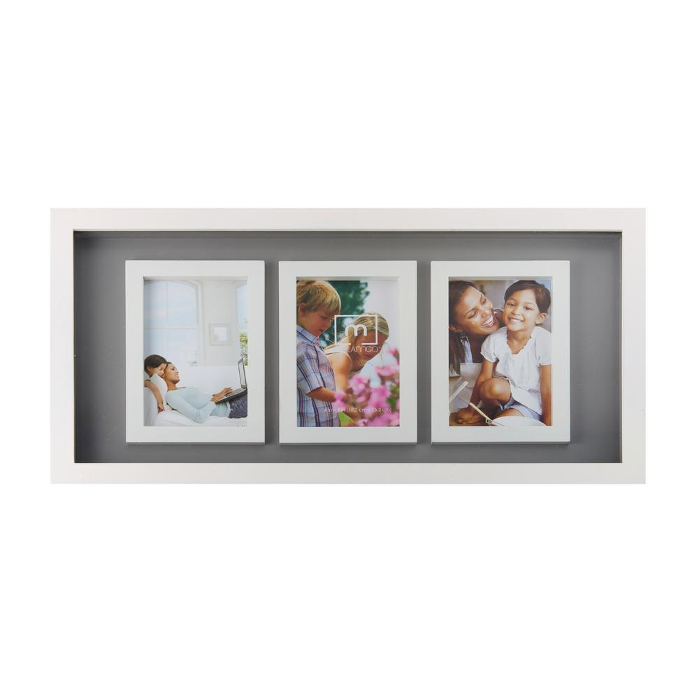 Melannco 20 in. x 10 in. 3-Opening Gray and White Collage Picture ...