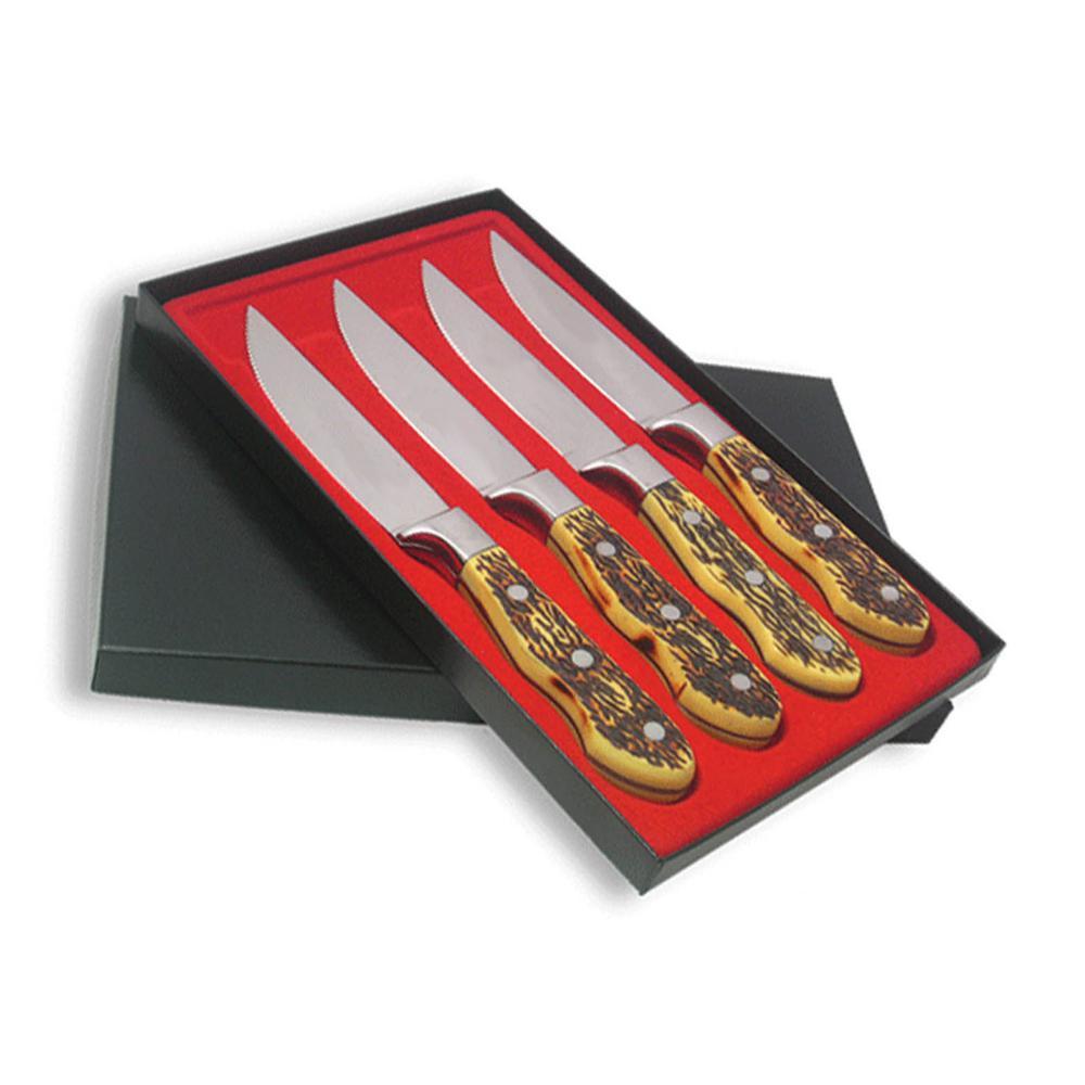 Utica Cutlery Co. Utica Cutlery Company Buckstag, Delrin Plastic, 4 pc Steak Knife Set by Utica Cutlery Co.