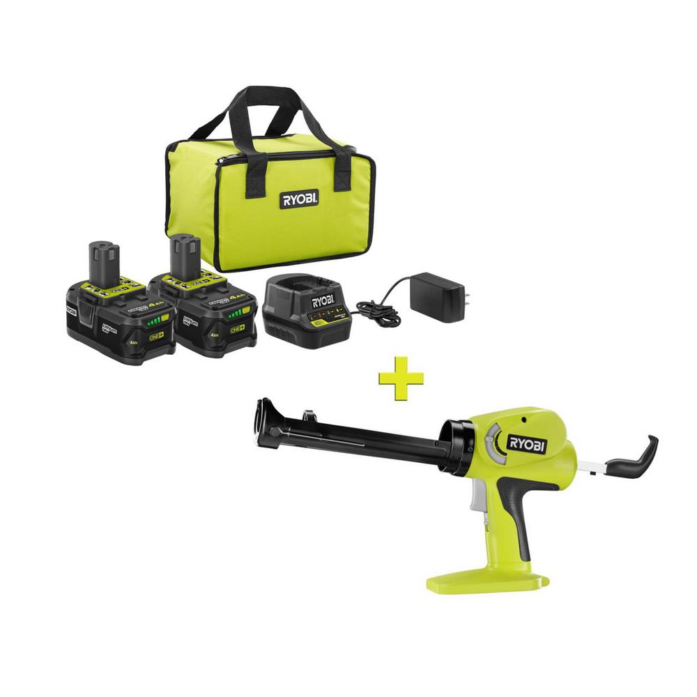 RYOBI 18-Volt ONE+ High Capacity 4.0 Ah Battery (2-Pack) Starter Kit with Charger and Bag with FREE ONE+ Caulk/Adhesive Gun was $271.97 now $99.0 (64.0% off)