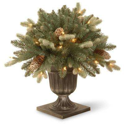 1.5 ft. Copenhagen Blue Spruce Porch Artificial Bush with Clear Lights