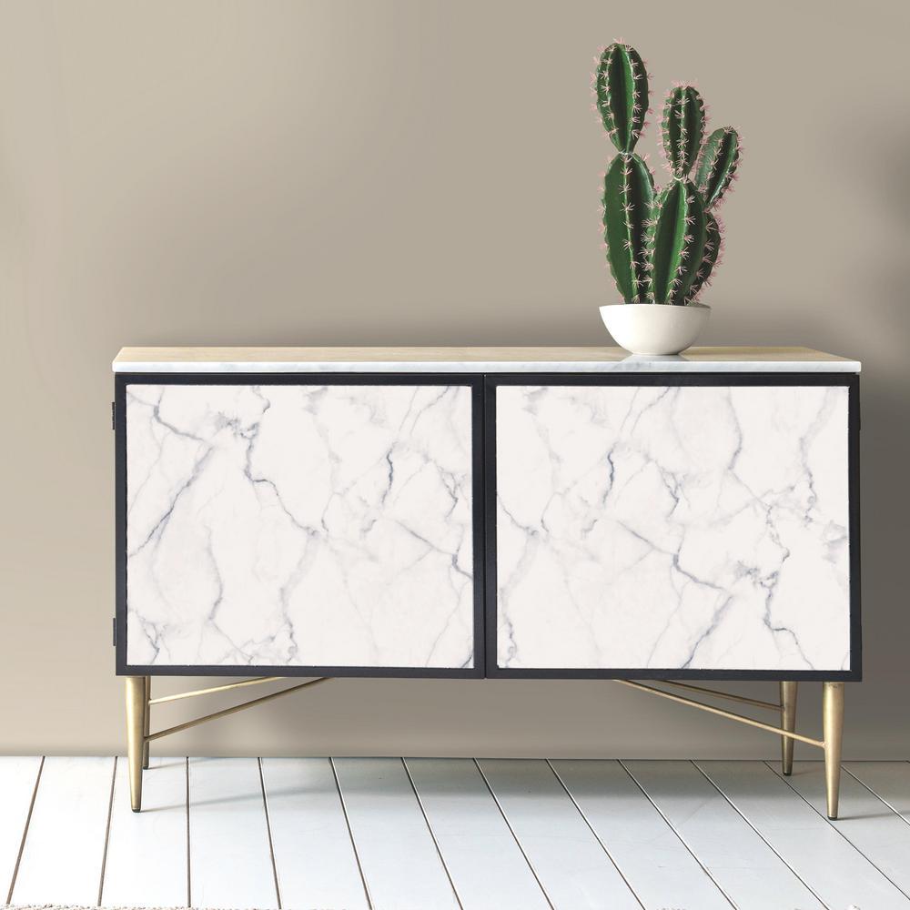 Carrara Marble Vinyl Peelable Wallpaper (Covers 28.18 sq. ft.)