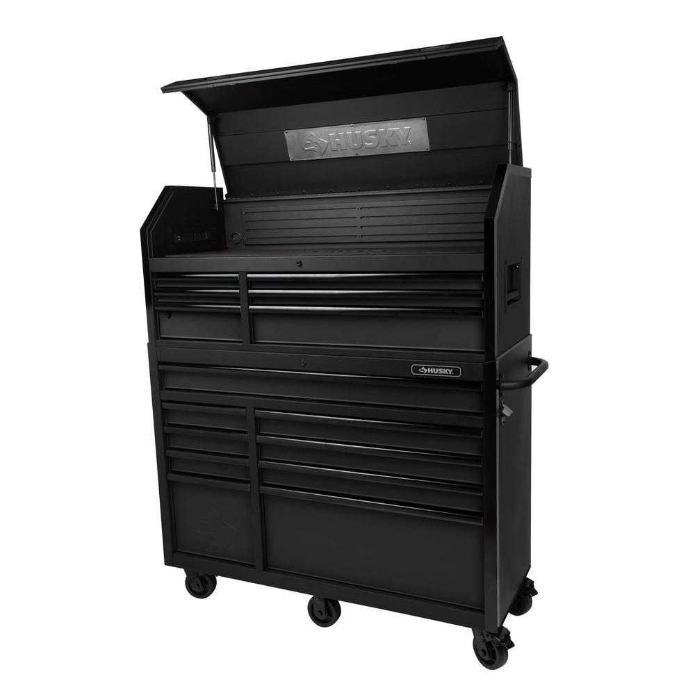 Husky 52 in. W 20 in. D 15-Drawer Tool Chest and Cabinet, Textured ...