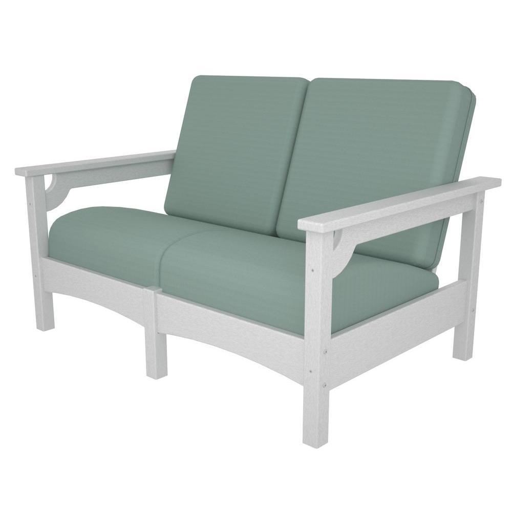 Club White Plastic Patio Settee with Sunbrella Spa Cushions