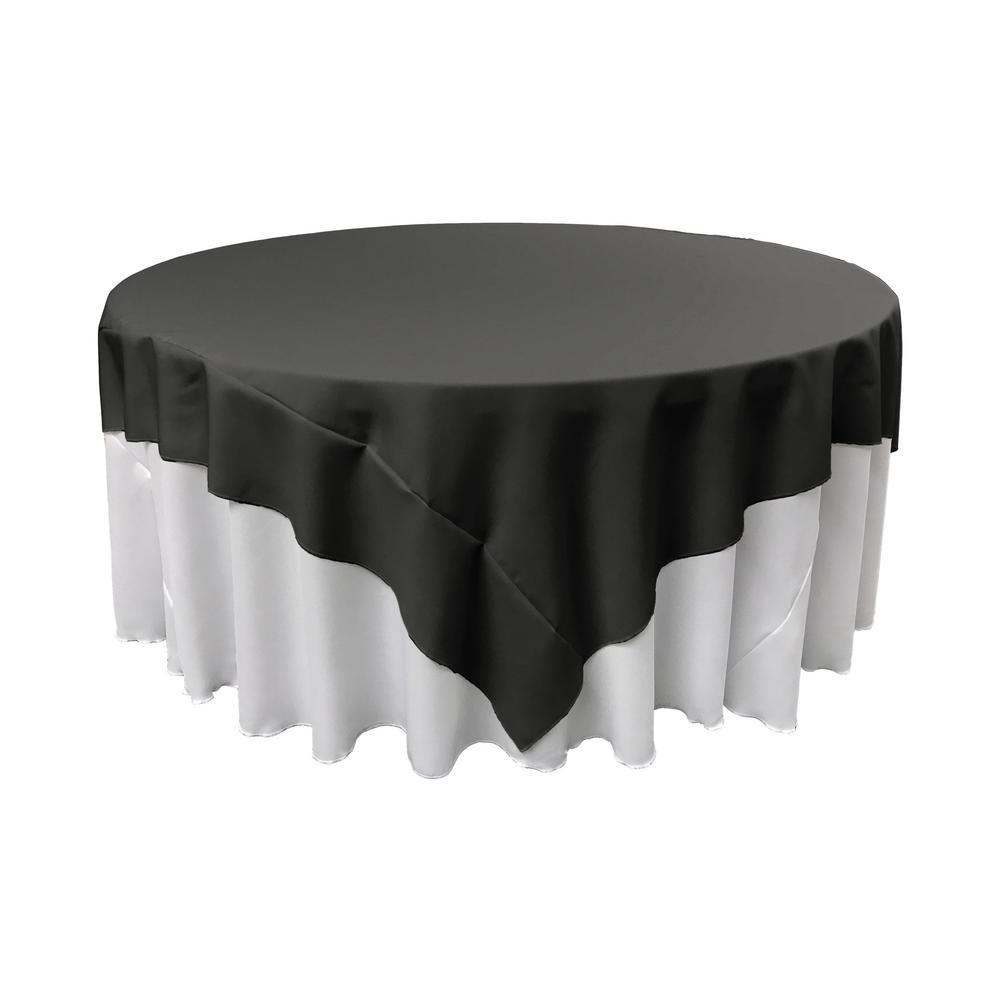 72 in. x 72 in. Black Polyester Poplin Square Tablecloth
