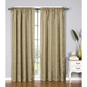 Window Elements Semi-Opaque Dawson Shimmering Leaf 54 inch W x 84 inch L Rod Pocket Extra Wide Curtain Panel in Taupe by Window Elements