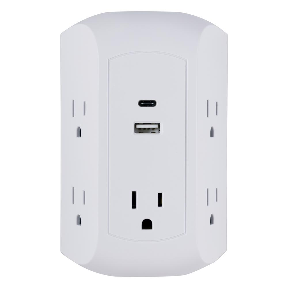 GE 5-Outlet Surge Protector Wall Tap with USB-A and USB C Ports