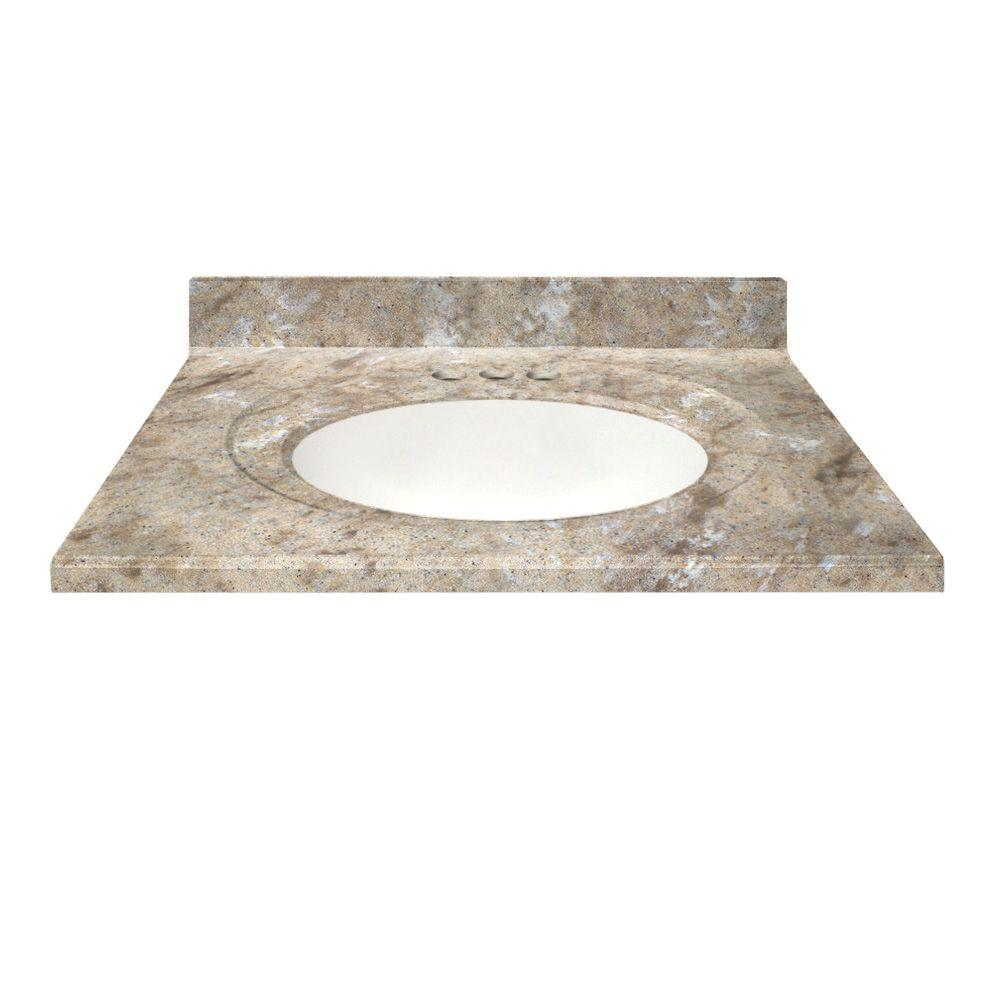 cultured granite vanity top in river bottom color with integral backsplash
