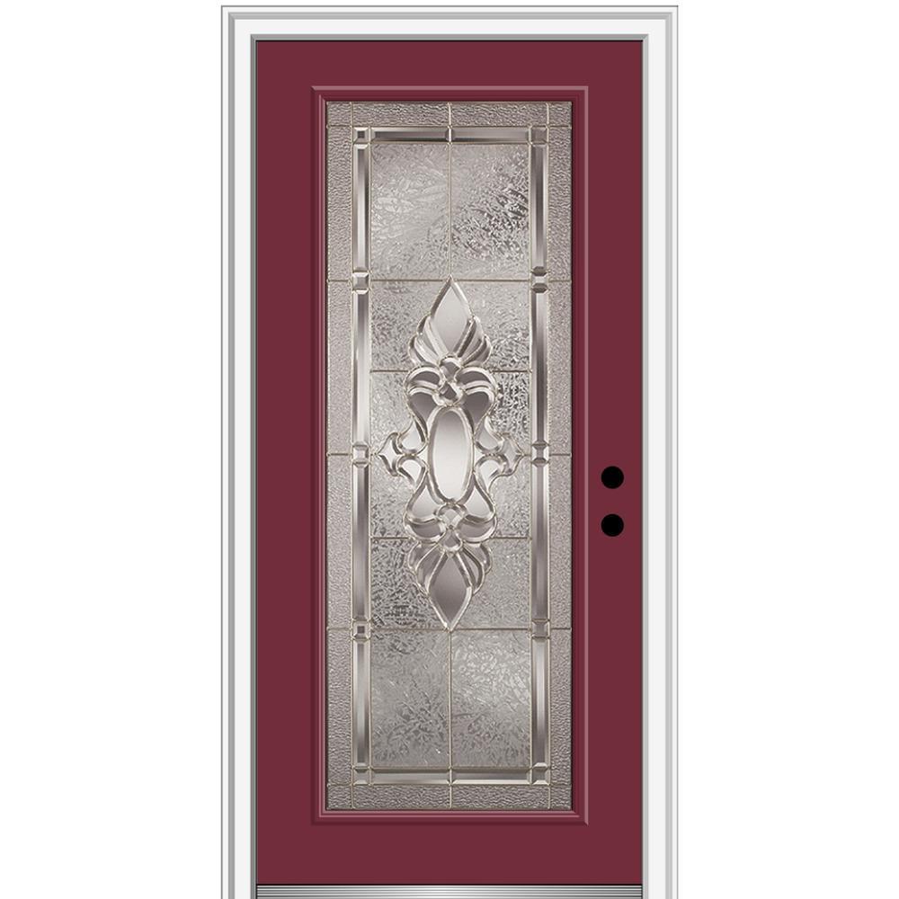 32 in. x 80 in. Heirlooms Left-Hand Inswing Full Lite Decorative Painted Steel Prehung Front Door on 4-9/16 in. Frame