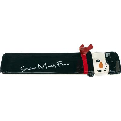 Snowman Black Red and White Dolomite Cracker Tray