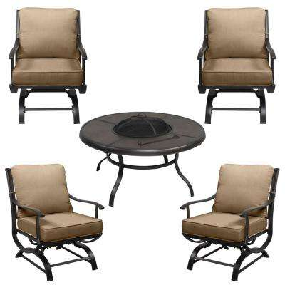 Redwood Valley Black 5-Piece Steel Outdoor Patio Fire Pit Seating Set with CushionGuard Toffee Tan Cushions