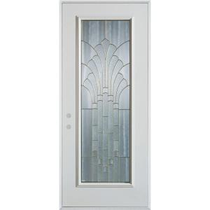36 in. x 80 in. Art Deco Full Lite Painted White Right-Hand Inswing Steel Prehung Front Door