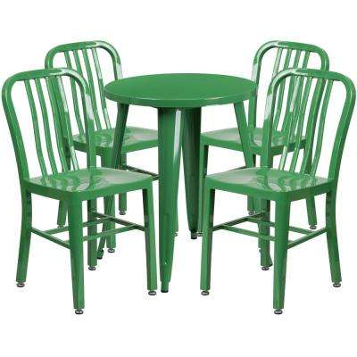 5-Piece Metal Round Outdoor Bistro Set in Green