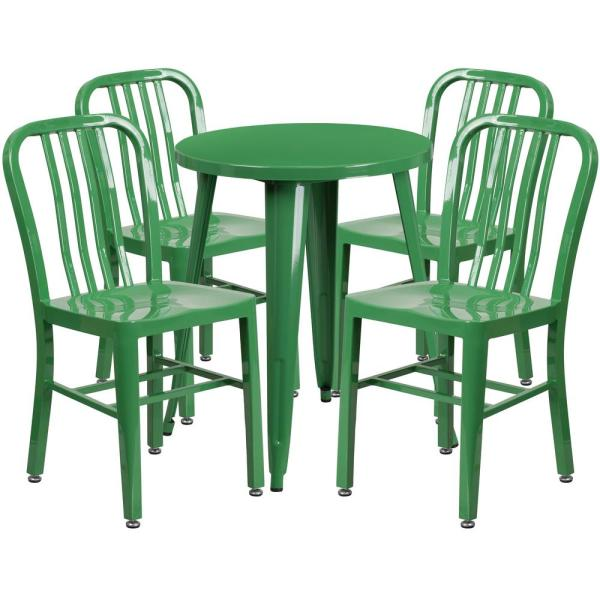 Tufted Chaise Lounge Chair, Carnegy Avenue 5 Piece Metal Round Outdoor Bistro Set In Green Cga Ch 194607 Gr Hd The Home Depot