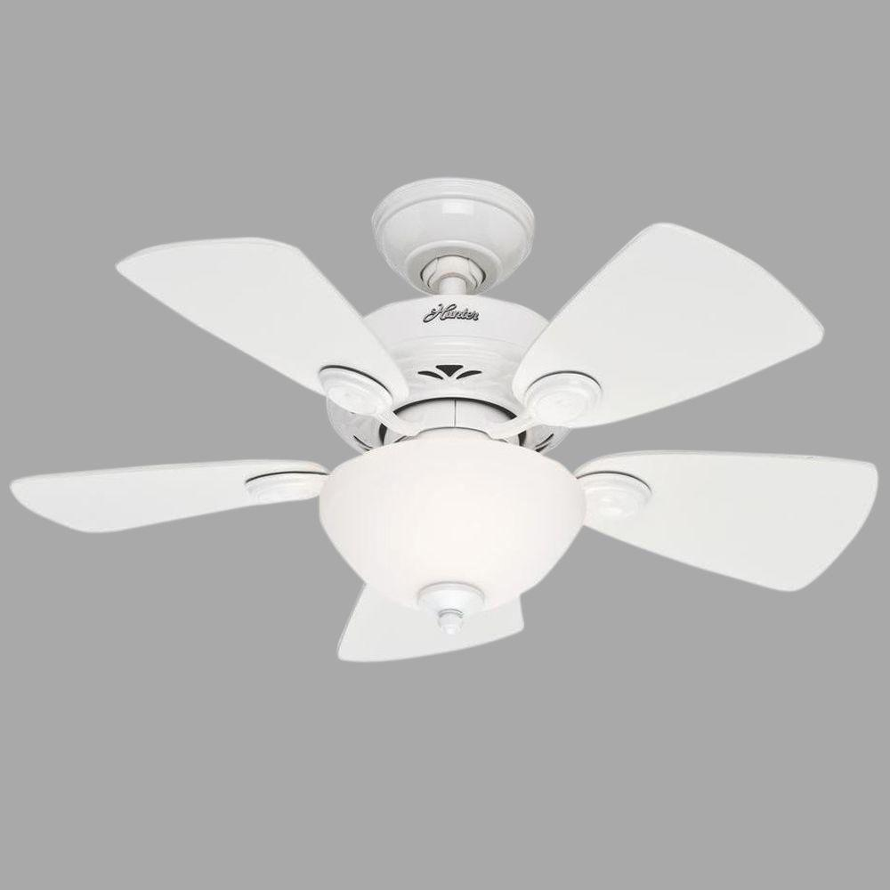 Hunter White Fan Part - 40: Hunter Watson 34 In. Indoor White Ceiling Fan With Light Kit