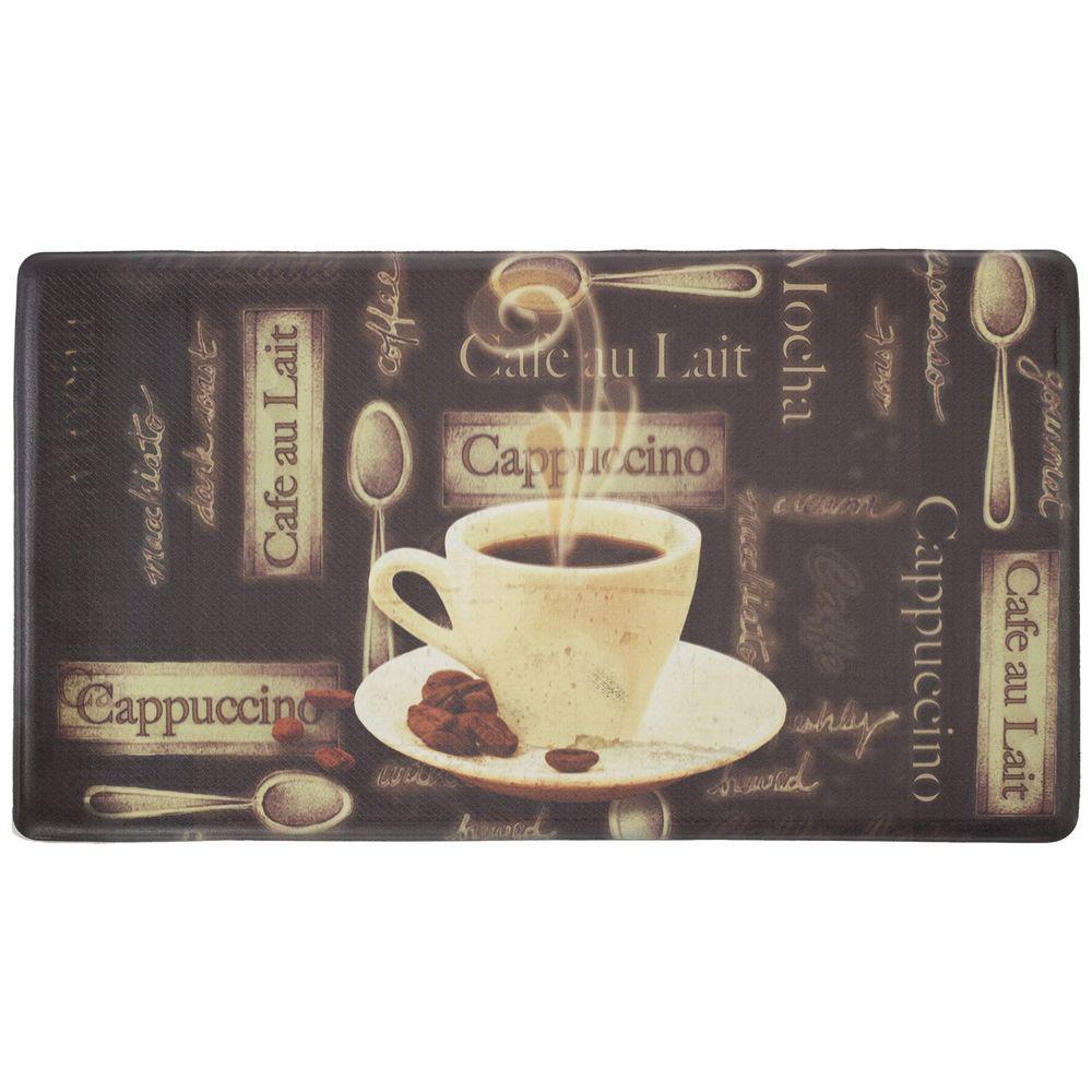 Cafe Au Lait 18 in. x 30 in. Foam Comfort Kitchen Mat