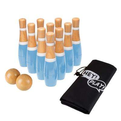 8 in. Wooden Blue and White Bowling Lawn Game
