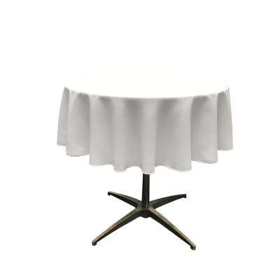 58 in. Round White Polyester Poplin Tablecloth