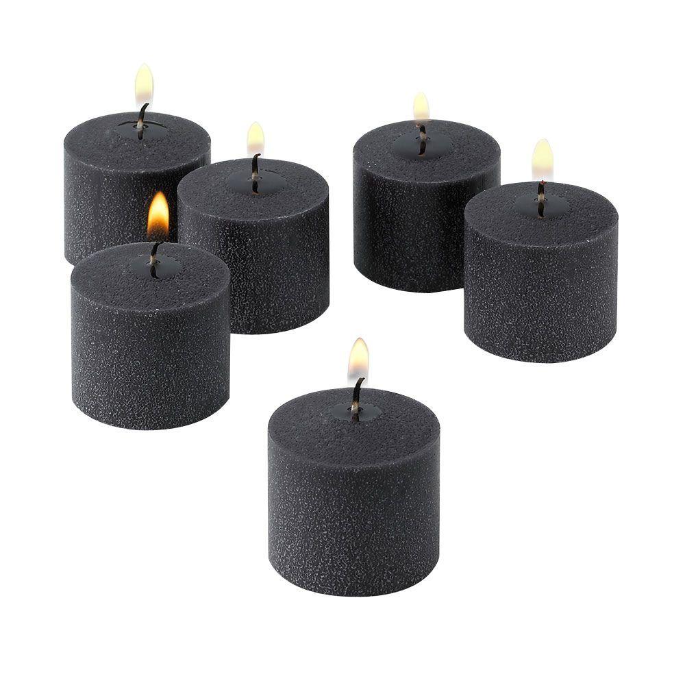 10 Hour Black Unscented Votive Candles (Set of 12)
