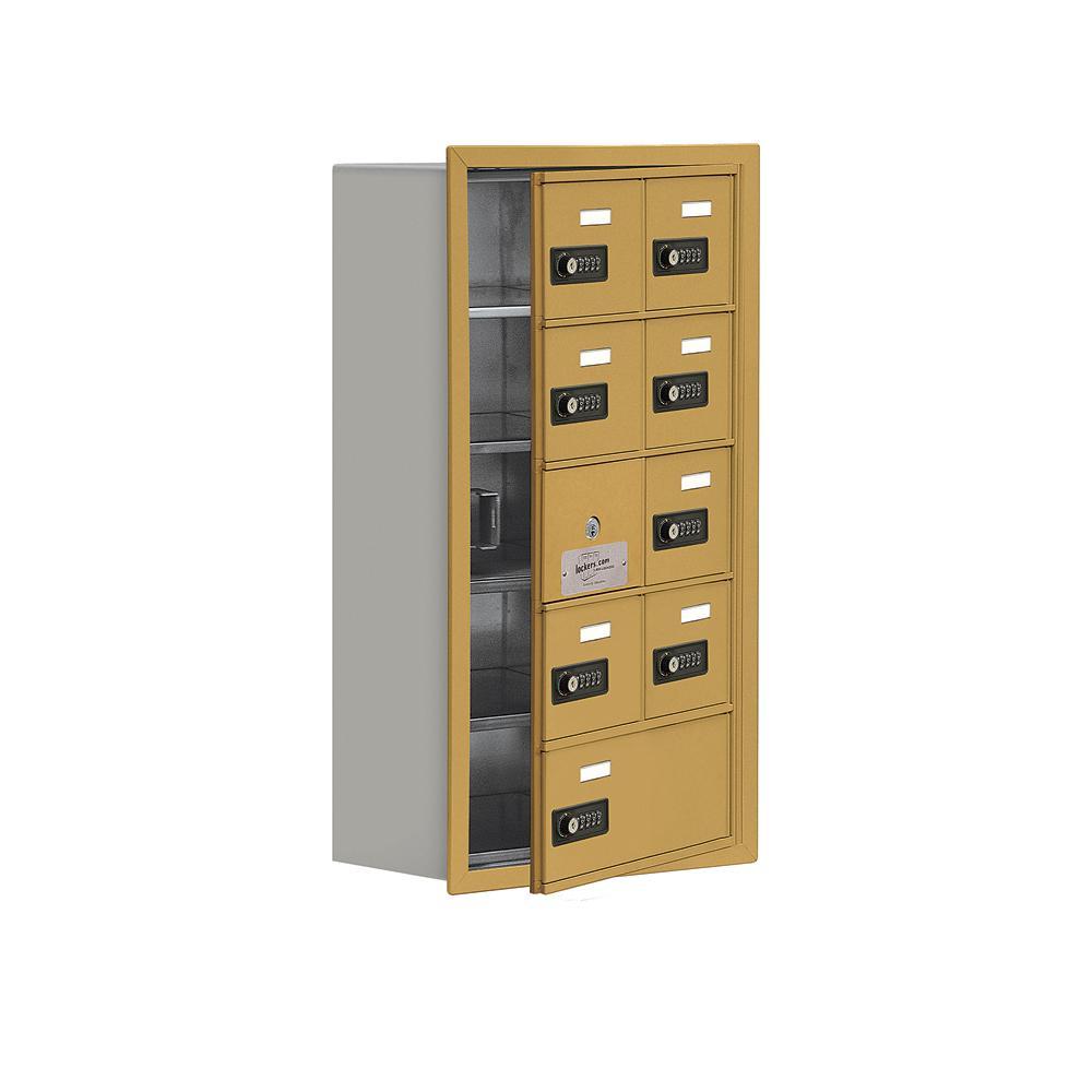 19100 Series 16.25 in. W x 29.75 in. H x 8.75 in. D 8 Doors Cell Phone Locker Recess Mount Resettable Lock in Gold
