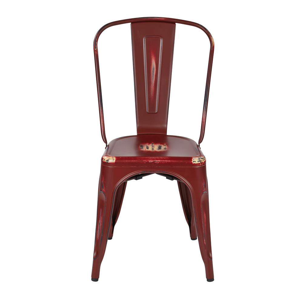 Bristow Antique Red Armless Metal Chair (Set of 4)