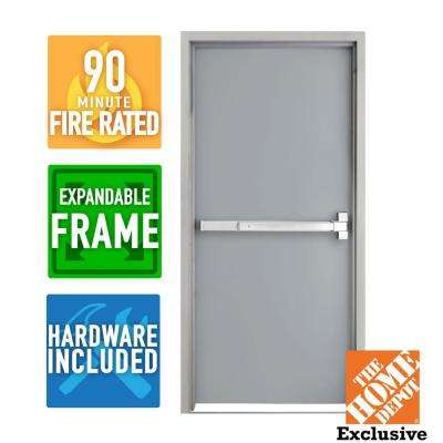 36 in. x 80 in. Fire-Rated Right-Hand Unfinished Steel Commercial Door Slab with Panic Bar and Adjustable Frame