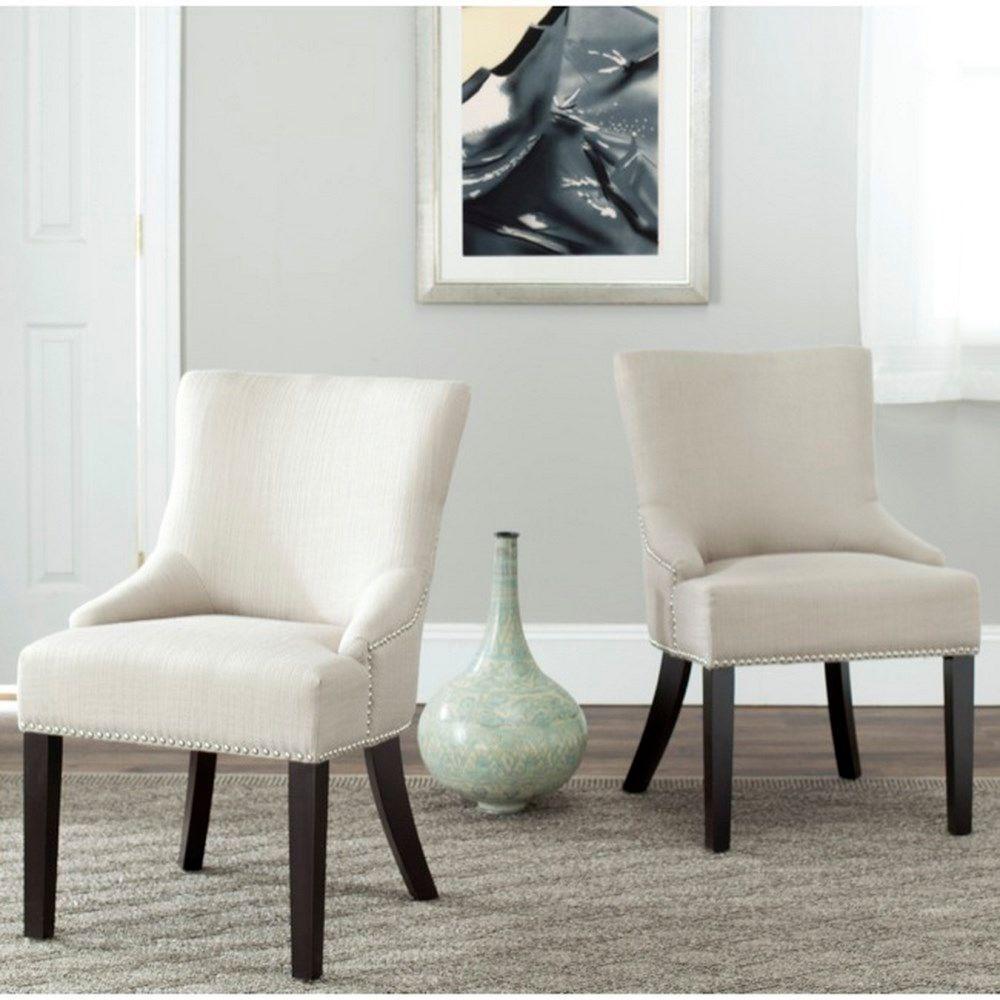 Safavieh Lotus Antique Gold Cotton/Linen Side Chair (Set of 2)
