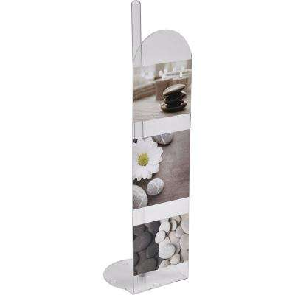 Zen Garden Freestanding Printed Toilet Paper Holder Paper Roll Holder Reserve 4-Rolls in 100% Acrylic