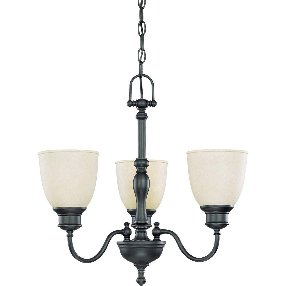 Glomar 3-Light Aged Bronze Chandelier with Biscotti Glass Shade