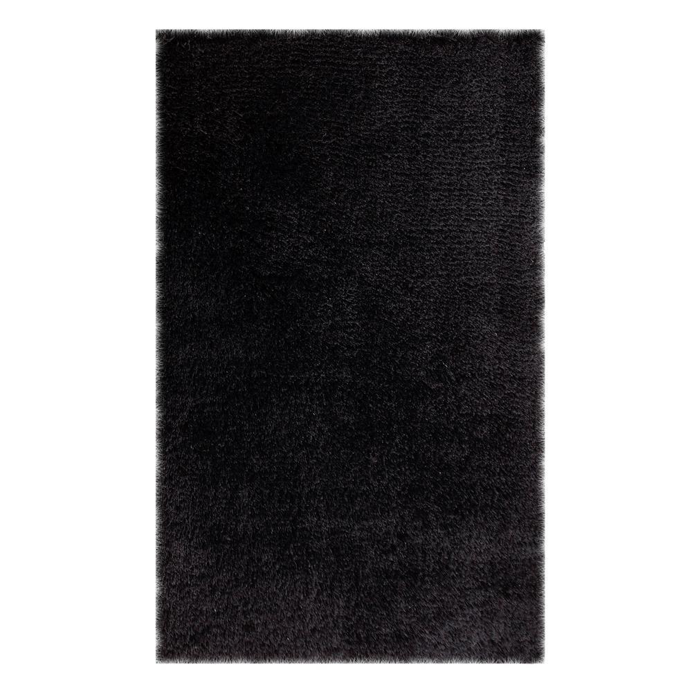 Chesapeake Merchandising Microfiber Black 5 Ft X 7 Area Rug