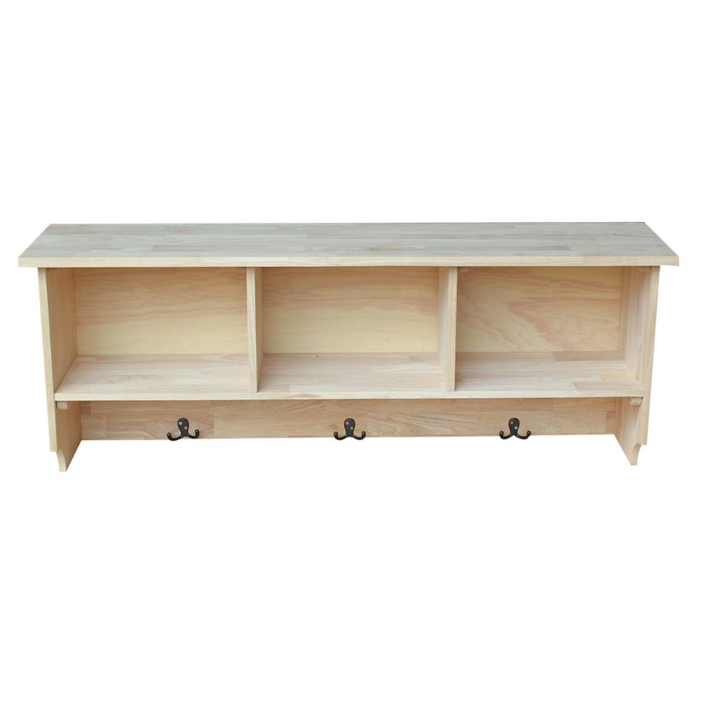 unfinished wood wall shelves pegs international concepts wall shelf with storage in unfinished wood woodsh