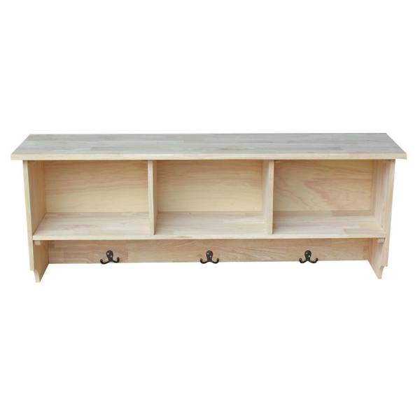 International Concepts Wall Shelf with Storage in Unfinished Wood SH-150