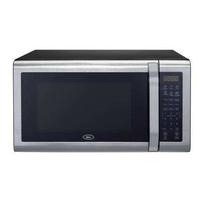 1.4 cu. Ft. Countertop Microwave in Black Stainless Steel 1100-Watt with Pull Handle