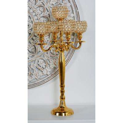 Gold Aluminum Candelabra with Bead Accents