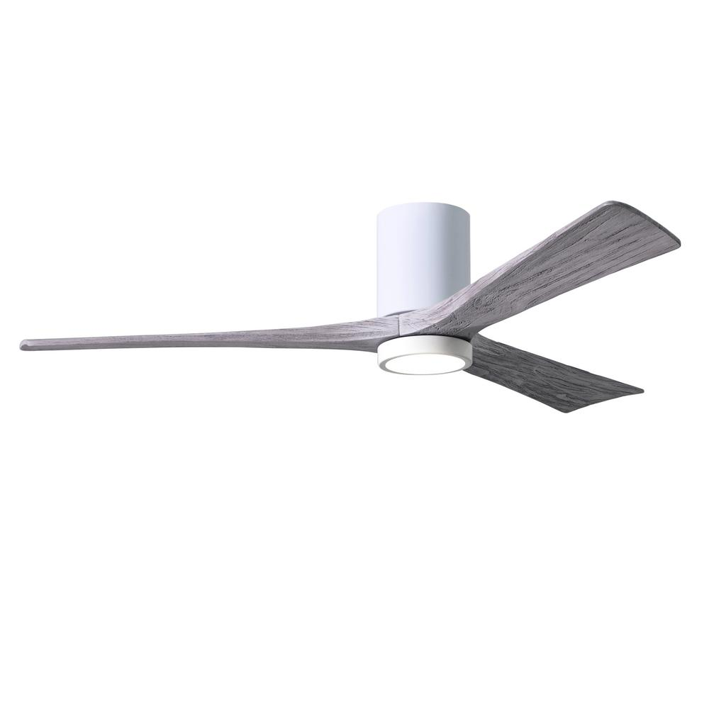 Atlas Irene 60 in. LED Indoor/Outdoor Damp Gloss White Ceiling Fan with Remote Control and Wall Control