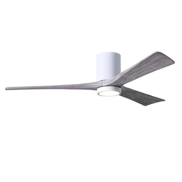 Irene 60 in. LED Indoor/Outdoor Damp Gloss White Ceiling Fan with Remote Control and Wall Control