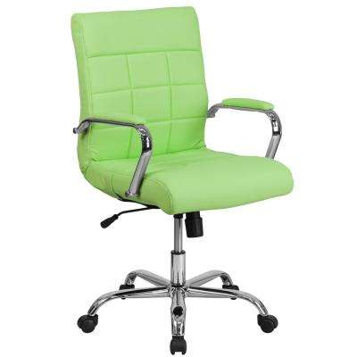 Mid-Back Green Vinyl Executive Swivel Office Chair with Chrome Base and Arms