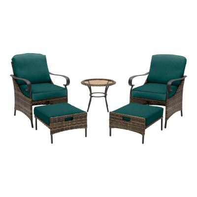Layton Pointe 5-Piece Brown Wicker Outdoor Patio Conversation Seating Set with CushionGuard Malachite Green Cushions
