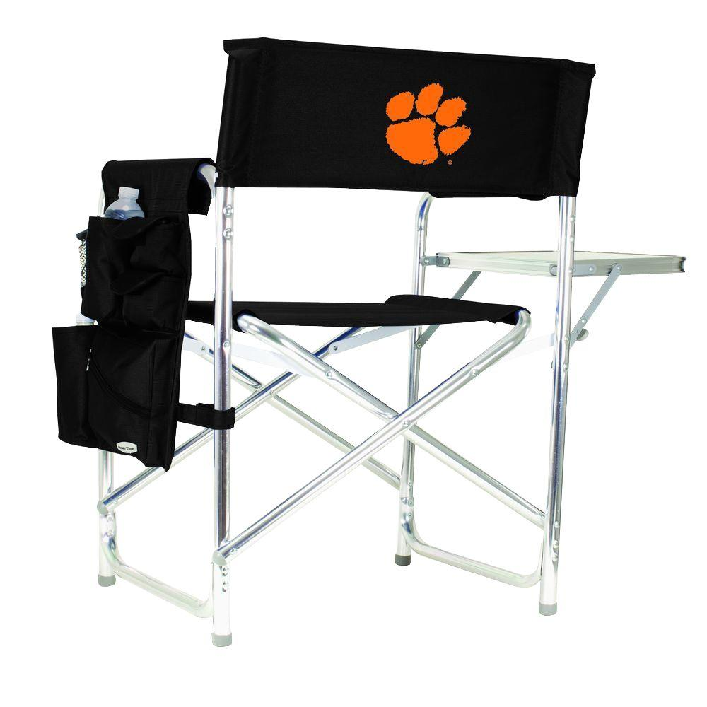 Picnic Time Clemson University Black Sports Chair with Embroidered Logo
