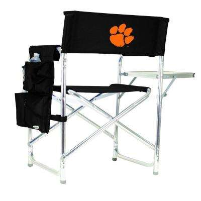 Clemson University Black Sports Chair with Embroidered Logo